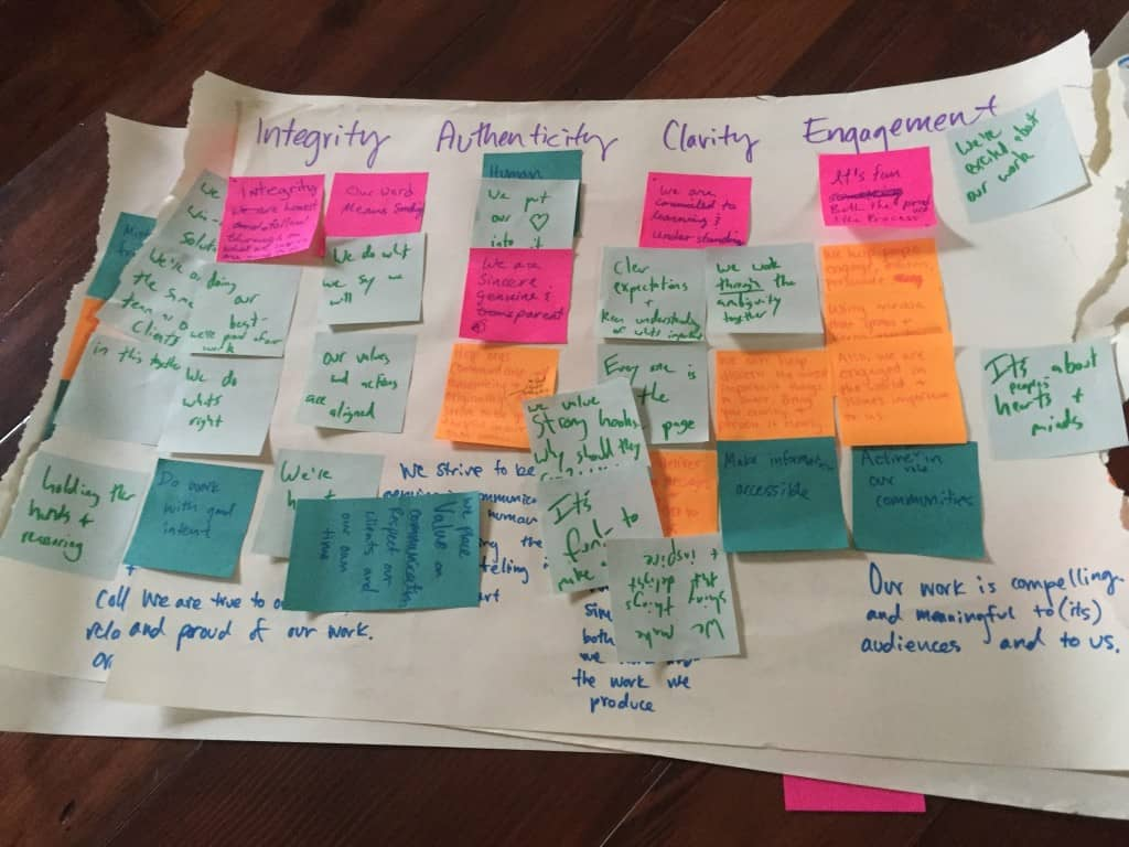 Values brainstorm, ft. all the post-its!